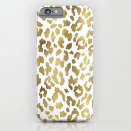 Cheetah Spots (White And Gold) iPhone Case
