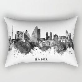 Basel Switzerland Skyline BW Rectangular Pillow