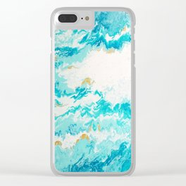 Light Blue And Gold Ocean Abstract Painting Clear iPhone Case