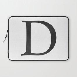 Letter D Initial Monogram Black and White Laptop Sleeve