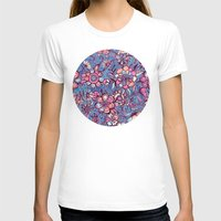 indigo T-shirts featuring Sweet Spring Floral - soft indigo & candy pastels by micklyn