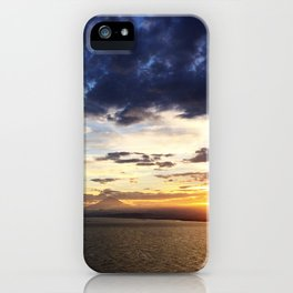 日没 // Sunset on Enoshima Beach with Mount Fuji iPhone Case