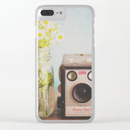 A vintage Kodak camera & a jar full of daisies. Clear iPhone Case