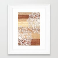 brown Framed Art Prints featuring White doodles on blonde wood - neutral / nude colors by micklyn