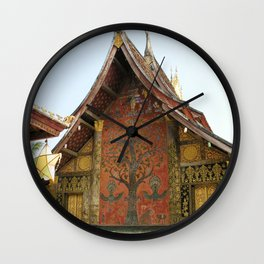 Decorated Pavilion at the Buddhist Xieng Thong Temple, Laos Wall Clock