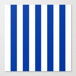 Royal azure - solid color - white vertical lines pattern Canvas Print