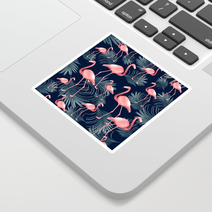 Summer Flamingo Palm Night Vibes #1 #tropical #decor #art #society6 Sticker