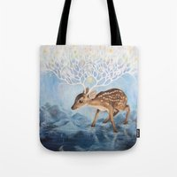 antlers Tote Bags featuring Antlers by Lucy Yu { Artwork }