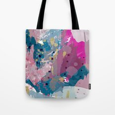 8: a bright abstract in blues pinks and golds Tote Bag