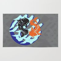 ying yang Area & Throw Rugs featuring Ying Yang Koi by Jezli Abigail Pacheco
