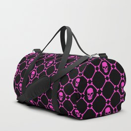 Skulls and bones hot pink on black Duffle Bag