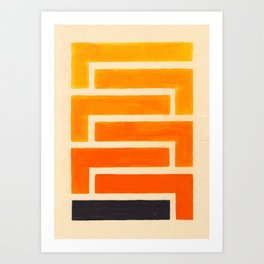 Orange & Black Geometric Pattern Art Print