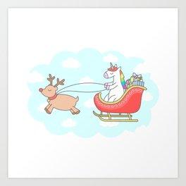 Unicorn Sleigh Art Print