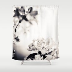 Black and White Flowers 2 Shower Curtain