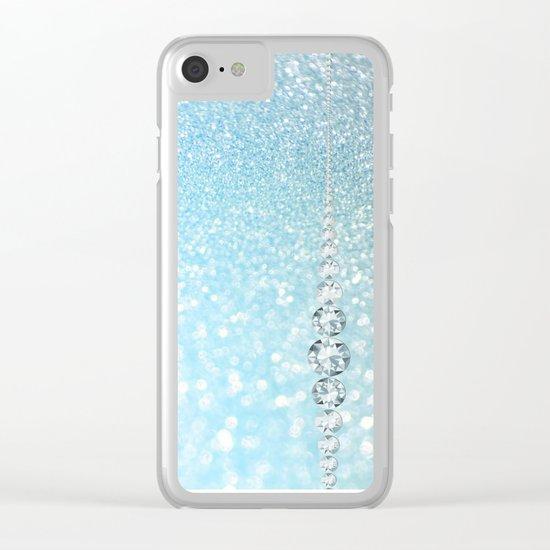 Diamonds are girls best friends I - Blue mermaid glitter texture Clear iPhone Case