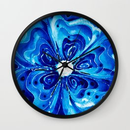 Blue Glory - Abstract Flower Floral by Sharon Cummings Wall Clock