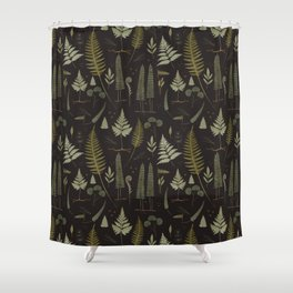 Fern pattern black Shower Curtain