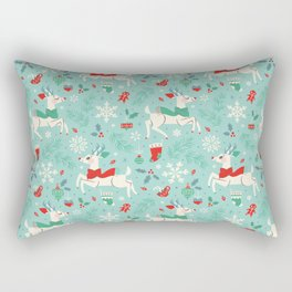 Merry Woodland Reindeer (Light Blue) Rectangular Pillow