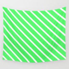 Mint Julep #1 Diagonal Stripes Wall Tapestry