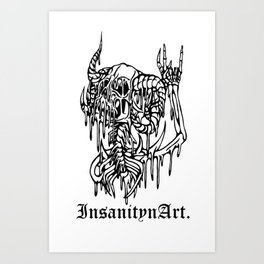 Insanity n Art's Original Melting Metalcore Skeleton.  Art Print