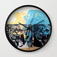 tigers Wall Clocks featuring YAWNING TIGERS by Brandon Neher
