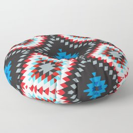 Colorful patchwork mosaic oriental kilim rug with traditional folk geometric ornament. Tribal style Floor Pillow