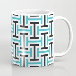 Geometric Pattern 212 (teal black) Coffee Mug