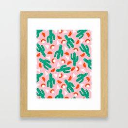 Red Hot - cactus southwest desert palm springs retro neon throwback 1980s style minimal plants Framed Art Print
