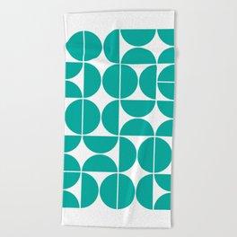 Mid Century Modern Geometric 04 Turquoise Beach Towel