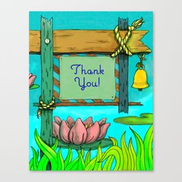 Sign-Post Waterlilies { Thank You version } Canvas Print