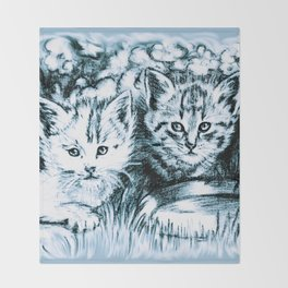 Blue Baby Cats Throw Blanket