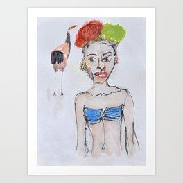 Model and the bird Art Print