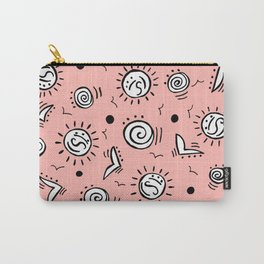 Doodle Drawing Seagulls Shells Sun - Coral Pink Carry-All Pouch