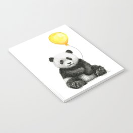 Panda Watercolor Animal with Yellow Balloon Nursery Baby Animals Notebook
