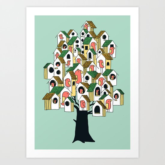Bird houses Art Print