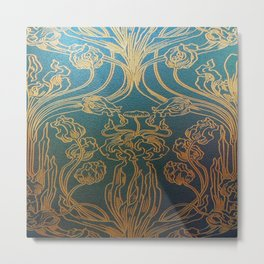 Art Nouveau,teal and gold Metal Print