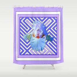 DECO LILAC PURPLE PASTEL IRIS PATTERN Shower Curtain