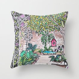 Val's Beautiful Garden Throw Pillow