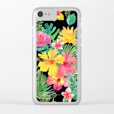 Tropical Floral Pattern Hawaii Clear iPhone Case