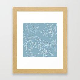 Roses, Line Drawing, White on Pale Blue Framed Art Print