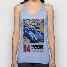 Le Mans 1956, vintage poster, Le Mans t-shirt, 24hs Le Mans Unisex Tank Top
