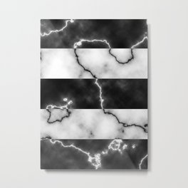 Black and white marble texture 10 Metal Print