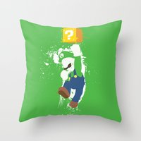 luigi Throw Pillows featuring Luigi Paint by The Daily Robot