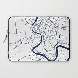 Bangkok Thailand Minimal Street Map - Navy Blue and White Laptop Sleeve