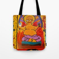 simpson Tote Bags featuring Simpson by Samantha Sager