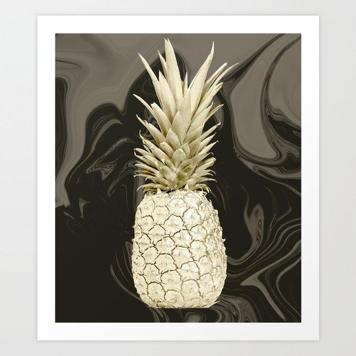 Golden Pineapple Marble Art Print