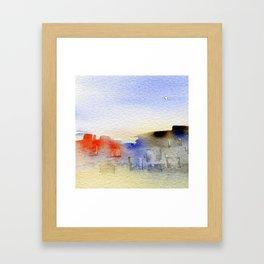 buildings near the beach Framed Art Print