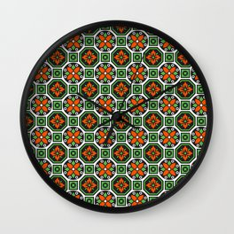 Orange and Green Winter Pattern Wall Clock