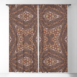 Abalone shell mosaic with a geometric kaleidoscopic design Blackout Curtain