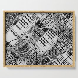 analog synthesizer  - diagonal black and white illustration Serving Tray